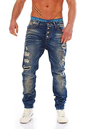Redbridge by CIPO&BAXX Low Crotch Jeans zerissen Dirty Destroyed Look Denim R41032 blau W31