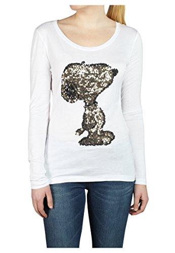 Sublevel Damen Pailletten Longsleeve mit Peanuts Motiv | Basic Langarmshirt mit Rundhals-Ausschnitt Einfarbig | Comic Shirt White