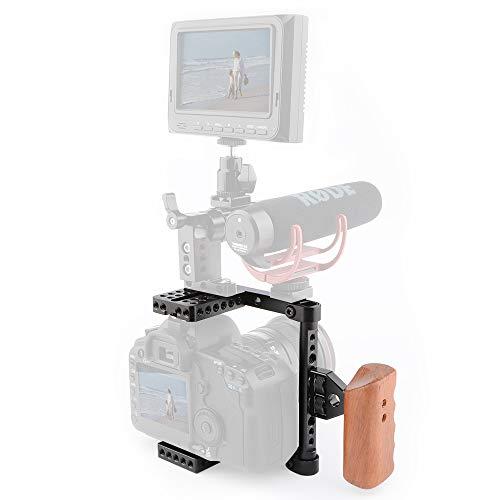 LFTS DSLR-Videokamera-Käfigstabilisator mit Holzgriff Verstellbarer Kamerakäfig Passend für Kamera-Rändelschrauben mit Rechts- und Linksgriff Anschluss 1/42