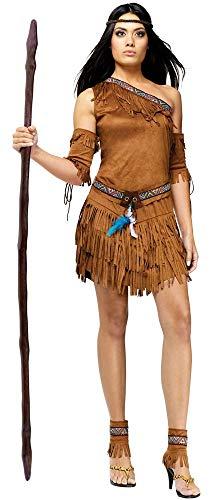 shoperama 5-teiliges One-Shoulder Indianerin Damen Kostüm in Wildleder-Optik Gr. S/M Erwachsene Squaw Kleid