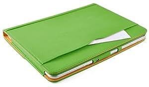 JAMMYLIZARD | Wallet Hülle für [ Samsung Galaxy Tab 2 10.1 ] Smart Case Ledertasche, GRÜN & HONIG