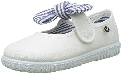 Victoria Mercedes Lona Pañuelo, Zapatos de primeros pasos para Bebé-Niñas, Blanco, 27 EU