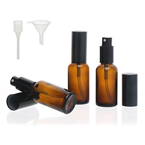 Segbeauty Flacone Spray in Vetro Ambrato, 3 pezzi Nebbia Fine Bottiglia da Viaggio 30mL Spruzzatore a Pompa con Imbuto, Contenitore da Viaggio Cosmetico Vuoto Acqua Mister per Olio Essenziale Profumo