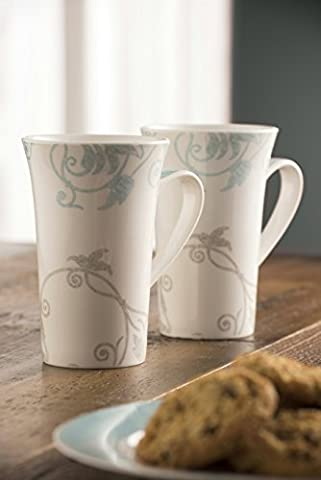 Belleek Pottery Novello Latte Tassen, Paar, Duck Egg, Set von 2