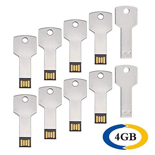 10 pezzi 4gb chiavette usb 2.0 forma chiave unità flash drive by uflatek metallo 4 gb pen drive impermeabile chiave usb argento pennetta usb una bella idea regalo