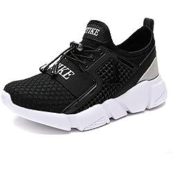Garçon Fille Chaussure de Course Chaussures de Outdoor Sneakers Mode Basket Chaussure de Course Sport Walking Shoes Running Compétition Entraînement Chaussure, 1-noir, 34 EU