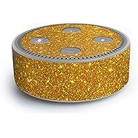 atFoliX Amazn Echó Dot (2. Generation) Skin FX-Glitter-Golden-Fleece Designfolie Sticker - Reflektierende Glitzerfolie