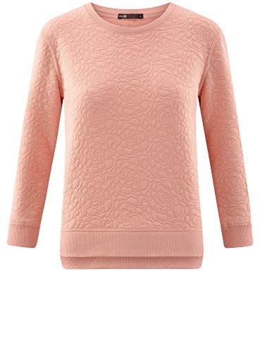 oodji Ultra Damen Sweatshirt aus Strukturiertem Stoff mit 3/4 Arm Rosa (5400N)
