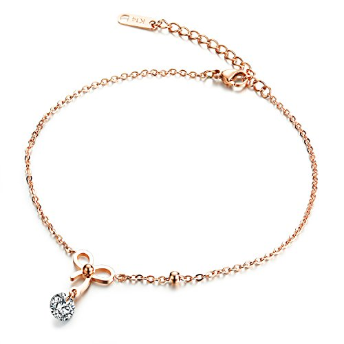 Fate Love Jewellery Women's Rose Gold Plated Foot Chain Bling Bowknot Anklet with Cubic Zirconia, Fit 7.87-9.83 Inch