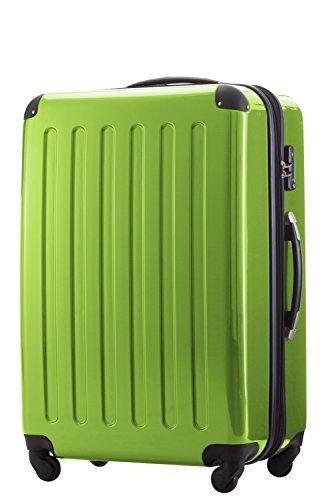 HAUPTSTADTKOFFER® 2er Hartschalen Kofferset · 2x Koffer 130 Liter (75 x 52 x 32 cm) · Hochglanz · Zahlenschloss · WEISS Apfelgrün