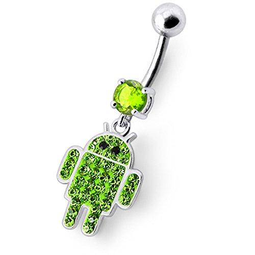 Bijou nombril pendant en argent sterling 925 Forme Android multi pierres fantaisies Avec Banane 14Gx3/8(1.6x10MM) en acier chirurgical 316L et Boule 5MM. Light Green