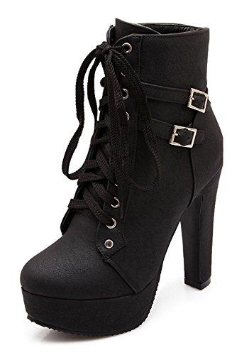 Minetom Damen Worker Boots Einfarbige Schnürsenkel Hohe Absätzen Stiefeletten mit Schnalle Blockabsatz Schuhe Outdoor Stiefel Schwarz EU 36 (Schnalle Knie Hohe)