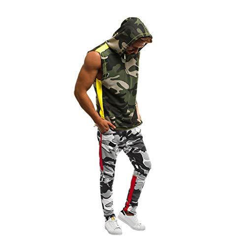 UINGKID Herren Jogginganzug Trainingsanzug Overall Jumpsuit Shirt Hose Fitness Männer Set Jogger Camo Slim Fit Hoodies Camo Bib Overall