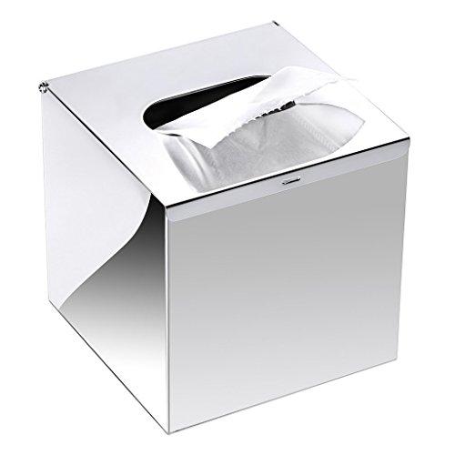 SZRWD Tissue Box Edelstahl, Kosmetiktücher-Box Silber für Badezimmer, Wohnzimmer, Badezimmer, Hotel, Restaurant
