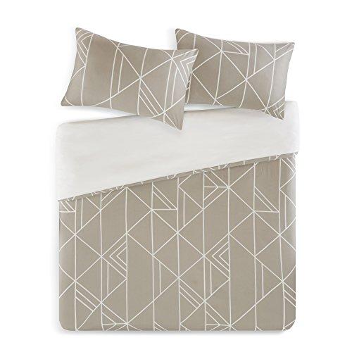 SCM Bettwäsche 155x220cm Streifen 100% Baumwolle Renforcé 3-teilig Bettbezug & Kissenbezüge 80x80cm Dreiecke Geometrisch Kariert Ideal für Schlafzimmer Geo Diamonds