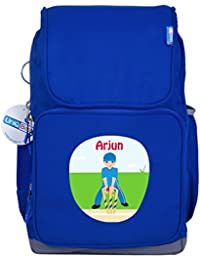 UniQBees Personalised School Bag With Name (Smart Kids Large School Backpack-Blue-Cricket 3)