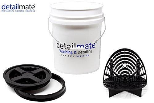 detailmate Profi Set Auto Reinigung GritGuard: Wasch Eimer 5 Gal (ca. 20 Liter) / Gamma Seal Eimerdeckel schwarz/Einsatz schwarz/Washboard