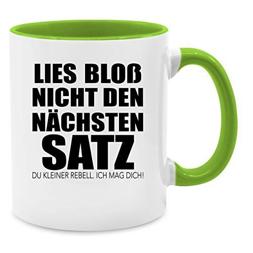 Tasse mit Spruch - Lies bloß nicht den nächsten Satz - Unisize - Hellgrün - Q9061 - Kaffee-Tasse inkl. Geschenk-Verpackung (Satz Kaffee Von Tassen)