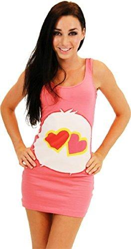 Care Bears Love-A-Lot Bear Coral Pink Kostüm Tunic Tank Kleid (Love-A-Lot Bear) (Coral Pink) (Junior Medium)