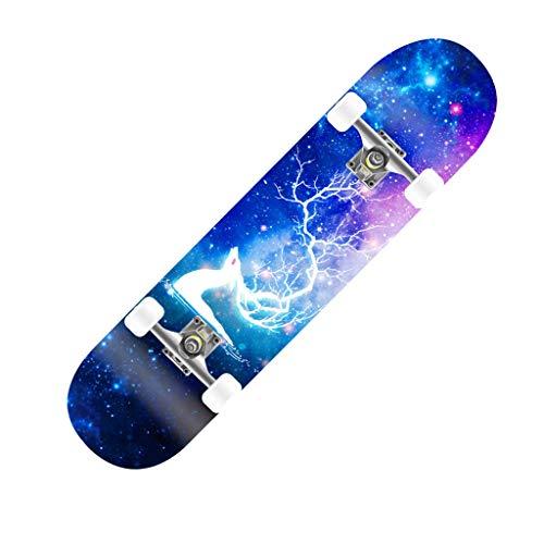 Standard Skateboards Komplettes Skateboard Ahorn 9 Lagen Double Kick Tail 4 Rollen Mini Cruiser Longboard Skateboard für Kinder Jungen Mädchen Erwachsene Anfänger (Farbe : A)