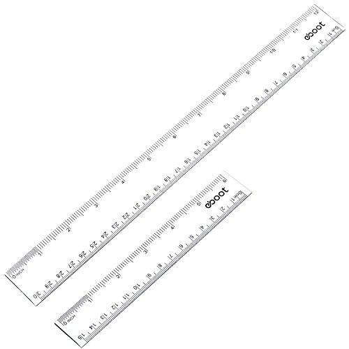 Kunststoff Lineal Gerade Lineal Kunststoff Messwerkzeug 12 Zoll und 6 Zoll, Transparent, 2 Stück