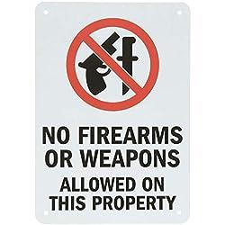 qidushop Aluminium Panneau sans Armes à feu Armes Autorisé sur Cette Propriété Noir Rouge sur Blanc Plaque Cour Allée de Garage Maison Clôture 30x 45cm
