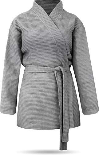 Kurzer weicher Morgenmantel Kimono für Damen Farbe Grau Größe XS
