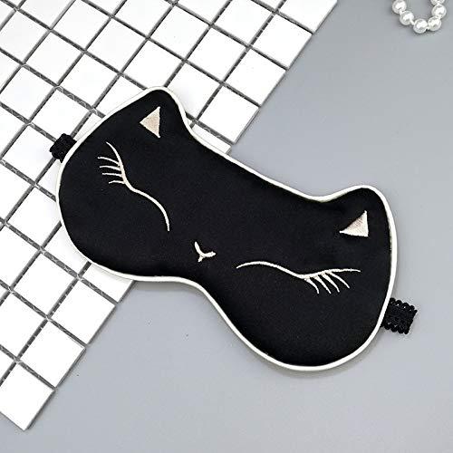 Niedliche Cat-Silk-Brille Schlaf Shading atmungsaktive Stickmodelle können eingestellt werden schwarze weiße Katze
