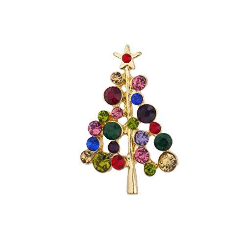 Sexy Multi Farbigen (LUX Zubehör Urlaub Multi farbigen Jewel Ton Weihnachtsbaum Weihnachts Brosche Pin)