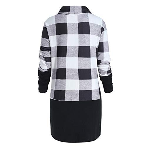 Plus Size Bluse Damen Langarm Plaid Print Bogen Sweatshirt Pullover Tops, Malloom Bedruckte unregelmäßige Oberteile Grau, Größe L