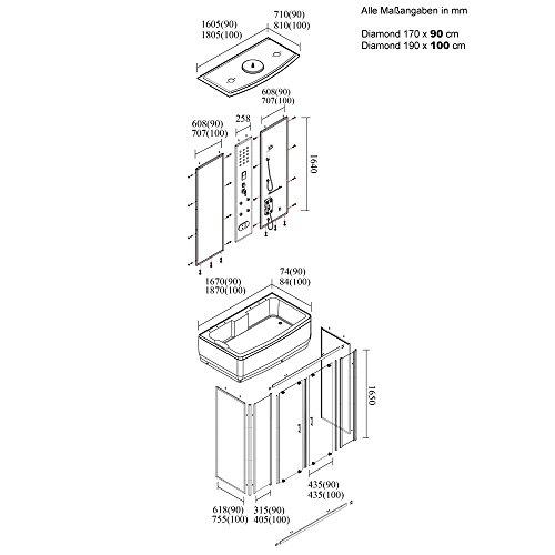 Home Deluxe – Diamond Schwarzer Duschtempel, inkl. Whirlpool und Dampfsauna - 6