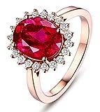 KnSam Joyas-Eres Muy Importante para Mí&Anillo de Compromiso En Oro Anillo de Diamante 3CT de 18K de Oro Anillo de Oro Rosa de la Talla de 9,5