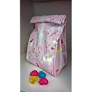 Lunchbag*Frühstückstasche*Brotbeutel* Design: Einhörner Rosa + Kühlakkus