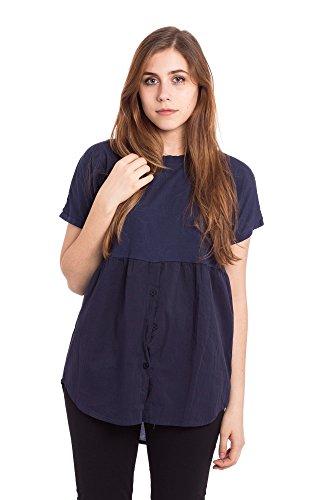 Abbino 5893 Magliette Tops Ragazze Donne - Made in Italy - 3 Colori - Primavera Estate Autunno Classiche Semplici Sexy Trend Shirts Tshirts Casual Saldi Maglie Tempo Libero - Taglia Unica Blu