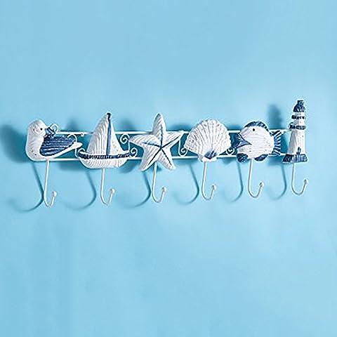 TOTO Creativo decorativo gancio appendiabiti Mediterraneo attaccapanni stile marino legno ferro battuto a parete ganci