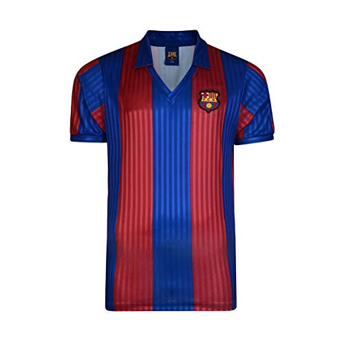 Remember good times in this Score Draw FC Barcelona 1992 Home Jersey, crafted with a V neck, collar and short sleeves, with a club coloured all over striped design and an embroidered FC Barcelona team crest to one side of the chest.> Men\'s re...