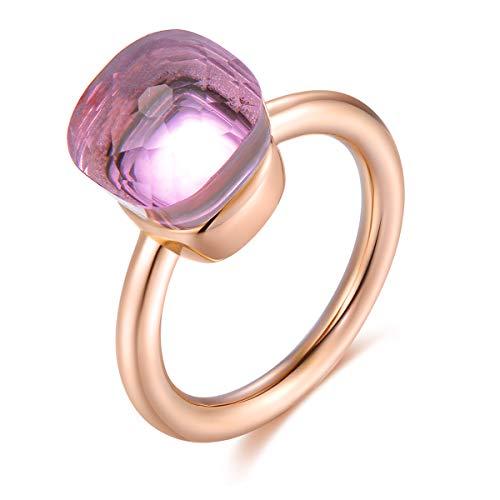 Klassische 14K Rose Gold überzogene Ring massiv 925 Sterling Silber Ringe mit Edelstein-Achat für Frauen Engagement, Hochzeit Schmuck/Muttertags-Geburtstagsgeschenk (Pink Crystal, 57 (18.1)) (Schmuck Ring Gold Rose)
