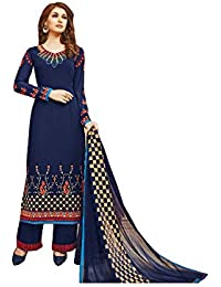 Like A Diva Elegant Blue Salwar/Palazzo Kameez Georgette Dress Material with Embroidery for Women