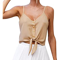 MORCHAN Femmes Boutons sans Manches Crop Top Vest Tank Shirt Blouse Tops (M, Kaki)