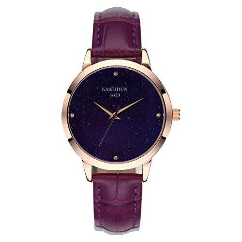 KASHIDUN Unisex Damenuhren Herrenuhren Luxus Damen Quarzuhr, Lederband, Anolog Armbanduhren für Männer Frauen Lila