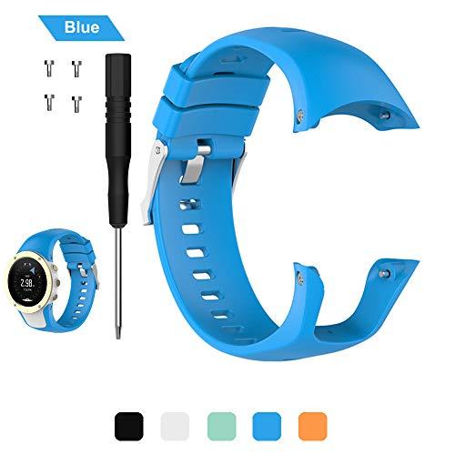 Uhrenarmbänder für Suunto Spartan Trainer Wrist HR Bands Handschlaufe, Soft Silikon Ersatz Zubehör Smartwatch Uhrenarmband Uhr Gurt, 5 Farben Universal Armbanduhr Armband erhältlich, blau