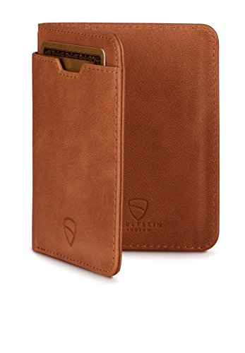 Vaultskin CITY Geldbörse mit Schutz für RFID Karten – Hochwertiges italienisches Leder – Platz für bis zu 9 Karten und Bargeld (Cognac)