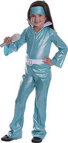 (Onlysportsgear Sport Mädchen 1970's Jahre Ausgefallen Party Outfit Musikfestival Verkleidung Pop Star Diva Kostüm - Blau, Blau, Large)