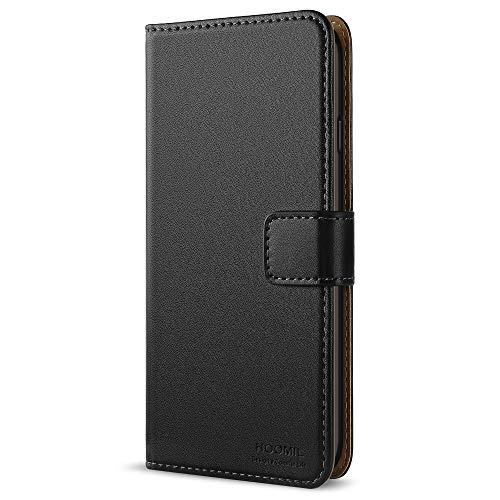 HOOMIL Galaxy S5 Hülle, Premium Handy Schutzhülle für Samsung Galaxy S5 / S5 Neo Hülle Leder Wallet Tasche Flip Brieftasche Etui Schale, Schwarz (H3001)