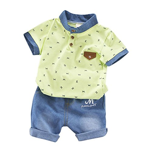 Blaward Baby Jungen Kinder Kurzarm-Cartoon-Shirt mit coolen Jeans Shorts Anzug Kleidung Set (Coole Kinder Anzüge Für)