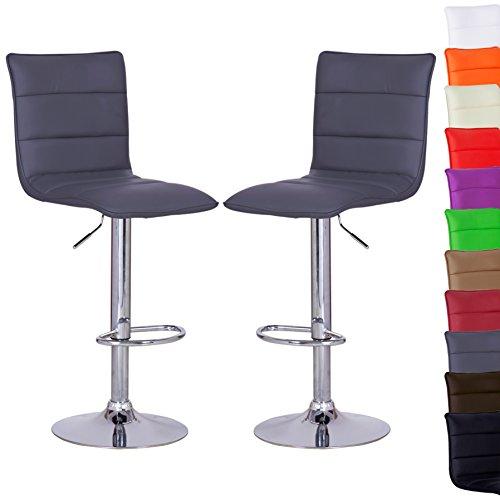 WOLTU BH15gr-2-a 2 x Barhocker Design Bar Hocker , 2er Set Barstuhl , stufenlose Höhenverstellung , verchromter Stahl , Antirutschgummi , pflegeleichter Kunstleder , gut gepolsterte Sitzfläche , Grau