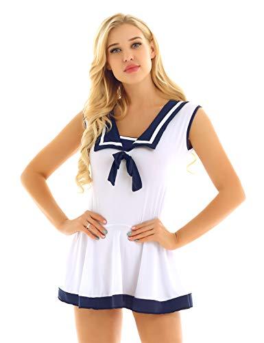 n Kleid mit G-String sexy Dessous Sets Schlumädchen Minikleid Nachtwäsche Faltenrock Frauen Cosplay Verkleidung Marineblau & Weiß Medium ()
