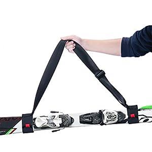 YAPASPT Ski Carrier Strap Einstellbare Durable Schulter Träger Lash Handle Straps mit Gepolsterten Verschluss Band Gurtschlaufe für leicht zu Tragen Skier und Pole