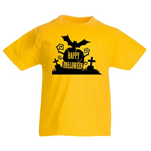 Kinder T-Shirt Halloween Graveyard Outifts - Costume Ideas - Cool Horror Design (5-6 years Gelb Mehrfarben)
