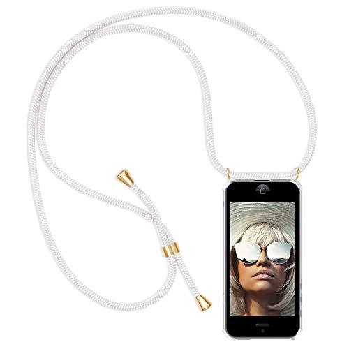 Zhinkarts Handykette kompatibel mit Apple iPhone 5 / 5S / SE - Smartphone Necklace Hülle mit Band - Schnur mit Case zum umhängen in Weiß